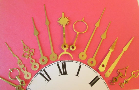 7 Pairs of Assorted Antique & Vintage Solid Brass, Copper and Brass Plated Cock Hands - Make Clocks, Jewelry - Steampunk Art