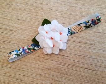 Baby/Child/Newborn/Girl's White Felt Hydrangea Flower Headband OR Hair Clip, Tropical Floral Headband
