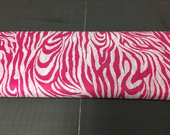 Pink abd white lg zebra Fabric by the yard