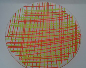 Fused Glass Plate - Orange and Lime Green Stringers
