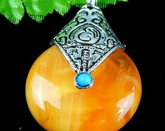 40mm Orange Carnelian Gemstone in Tibetan Style Setting Pendant