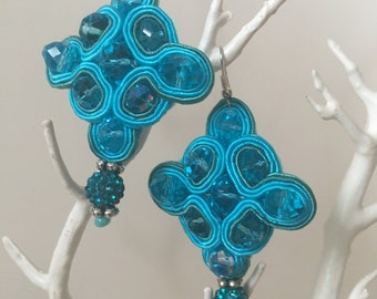 Soutache Earrings Upcycled Hand Embroidered, Soutache Earrings, Hand Embroidered Earrings, Soutache Turquoise Blue Earrings