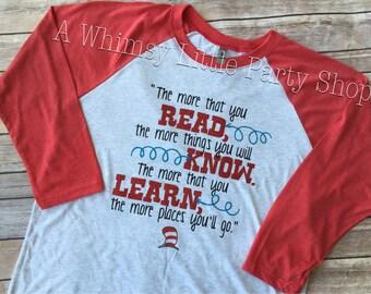 The More You Read Shirt, Dr Seuss Shirt, Read Across America Shirt, The more you know shirt, Teachers Shirt, Teacher Gift, Teacher Week