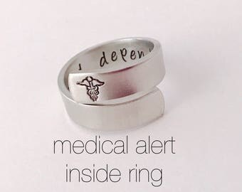 Medical alert ring - Hand stamped- Allergy  - Custom made to your medical alert - medical conditions inside
