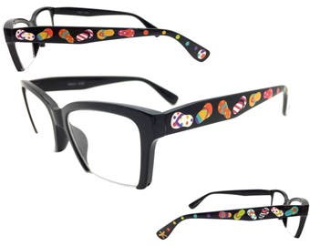 Women's Black 1.25 Strength Hand Painted Flip Flop Reading Glasses with Beach Ball, Starfish, and Multi-Color Polka Dots