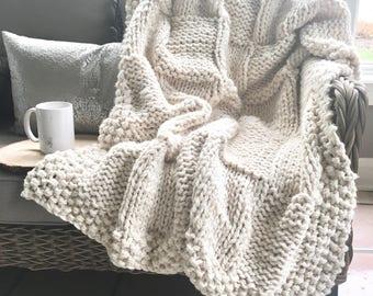 Chunky Knit Basketweave Blanket Afghan Throw | Cream Fisherman | THE PIAZZA