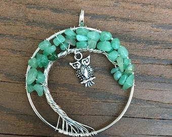 Green Aventurine Tree of Life  Pendant with Owl Charm