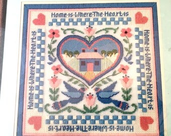 "Dimensions Home in Heart Needlepoint, 14""X14"" Home is Where the Heart Is, Sampler Style Keepsake, #2265 Needlework Wool and Cotton"