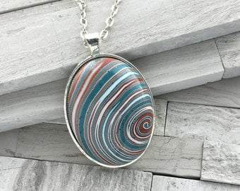 Blue and orange swirl polymer clay pendant | Large oval silver pendant