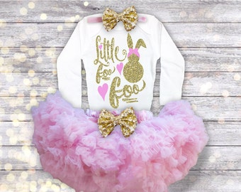 Girl Easter Outfit, Easter Dress, Pink and Gold Easter Bunny Foo Foo, Easter Shirt, Girl Easter Clothes, Trendy Easter Outfit, Newborn-8