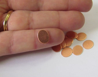Oval Blanks - Copper - 8mm x 10mm  - Hand stamping metal disc  -Oval disc - Tumbled blanks - Necklace blanks - Stamping Supplies