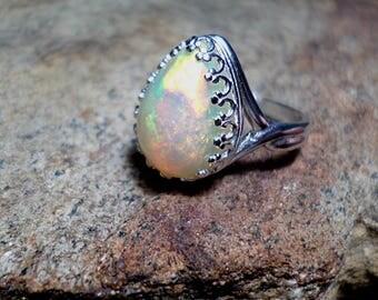 Large Ethiopian Briliant Fire Opal, Opal Bezel Ring, Sterling Silver Bezel Ring, Opal Ring, Opal Jewelry,Opal Gemstone