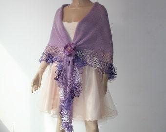 Hand Knitted Crochet Shawl Mohair/Triangle Shawl/ Handmade Shawl lilac