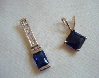YOUR CHOICE Classy Square Swarovski Crystal Sapphire Blue Pendant A+++ Condition #210