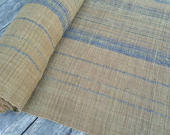 hand woven natural indigo dyed cotton fabric by the meter (H195)