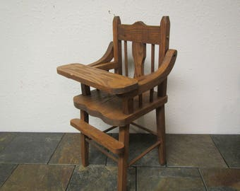 Oak Handcrafted Wood Doll Highchair , Solid Oak well built Doll Furniture,