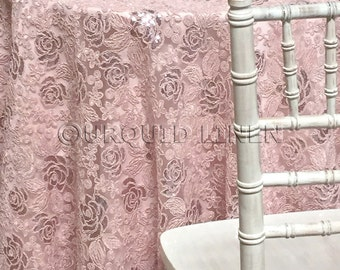 Valentina Lace Tablecloth in Blush - Ideal for Weddings & Bridal Events