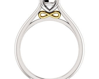 Two Tone Infinity Solitaire Ring, Choose Your Gemstone & Metal Combination, 14k White Gold with 14k Yellow or 14k Rose Gold