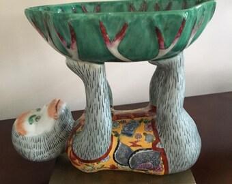 Vintage Chinese Monkey Holding Cabbage Bowl