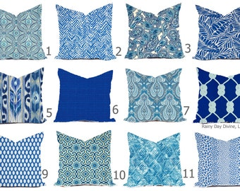 Outdoor Pillows or Indoor  Custom Cover - Shades of Blue Royal Cobalt White Contemporary Modern Patio Throw 18x18, 16x16