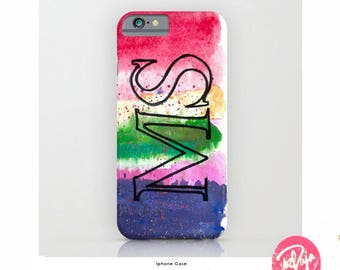 Monogram Watercolour Smartphone Case - Samsung - iPhone - Jewel Tones - speckled wash - Lettering - Alphabets - Handmade in UK