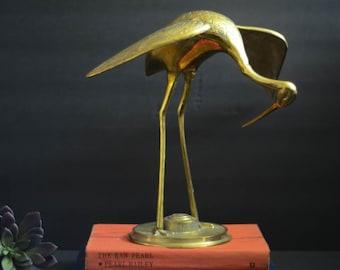 Large vintage brass crane statue/brass heron statue/ crane figure/mid century brass bird/Brass decor/Brass stork/Brass egret/Vintage Decor