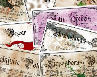 Printable Harry Potter labels 2.8x1.5, set of 8, potion labels, instant digital download jpg pdf