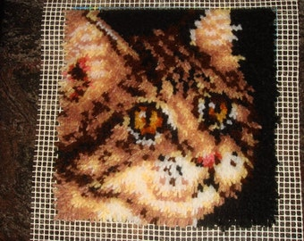 Latch Hook Rug Cat small, finished item