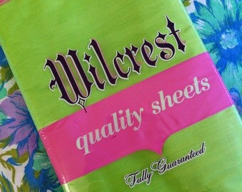 60's Vintage LIME green NOS cotton sheets
