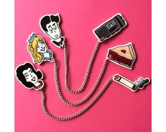 Twin Peaks Meets Riverdale Lapel Pin - sweater clip collar clip brooch neon comic pin up archie andrews kitsch