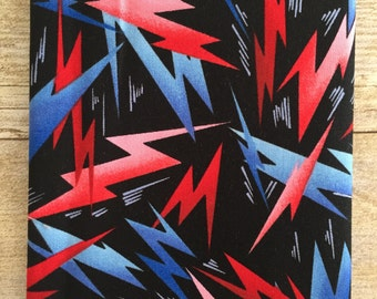 Blue and Red Electric Lightening Bolts on Black Fabric--Fat Quarter