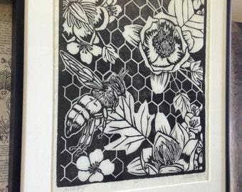 Honeybee,flower,botanical,bee,pollinator,linocut,blockprint,printmaking,garden,beekeeper,nature,woodland,home decor,original art,handmade