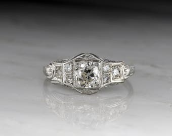 vintage 1920s engagement ring edwardian art deco design in platinum with an old mine - 1920s Wedding Rings