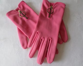 Vintage Pink Gloves with Metal Zips 1960's size 7 1/2