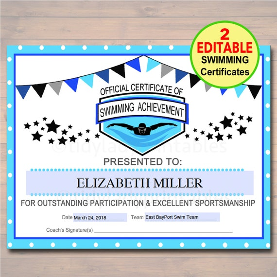 Editable swim team award certificates instant download for Team certificate template