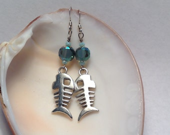 Skeleton Fish Earrings
