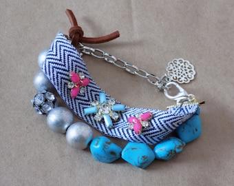 Turquoise Bracelet COLORADO COUNTRY GIRL Jewelry Rhinestone Babble Leather Tie Chain Chevron Statement Gypsy