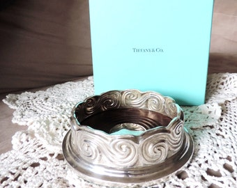 Sterling Silver Wine Coaster Tiffany & Co. Scroll Pattern Design. Louis Comfort Tiffany Collection, 925 Silver. Tiffany Gift Box Included.