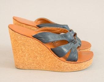 70s Cork Sole Platforms - Vintage Seventies Navy Blue Leather and Tan Cork Wedges Sky High Heels Platform Shoes Sandals Women's 70s Shoes