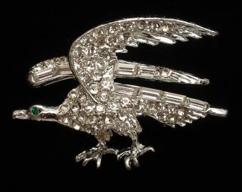 Bird in Flight Pin Rhinestones Vintage