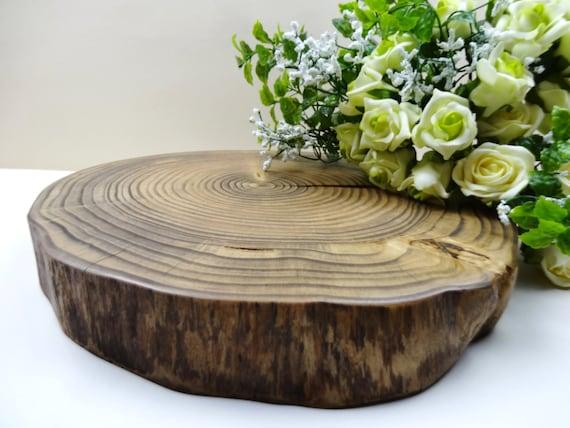 """12"""" Wood Cake Stand,Wood Slice Cake Stand, Wood Slab Cake Stand, Rustic Cake Stand, Rustic Wedding Decor, Wooden Centerpiece,F2"""