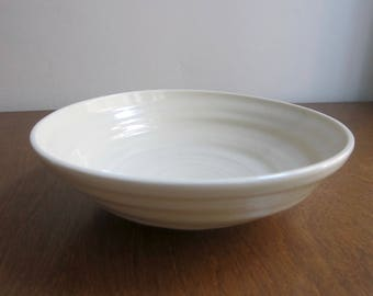 Wave Bowl | Hand-thrown Porcelain Serving Bowl | Off White Shallow Bowl