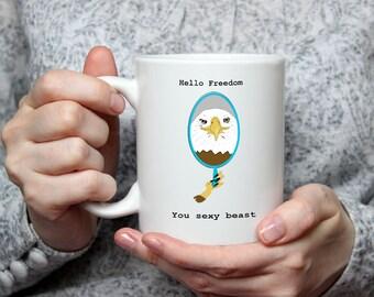 Hello Freedom-- Funny Coffee Cup- Patriotic Coffee Cup- Patriot Gift- Bald Eagle Coffee Cup- Funny Coffee Mug- Funny American Gift- Freedom