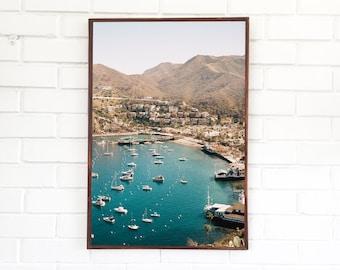 Catalina Island Photography / Avalon California Art Print / California Coast / Cliff View / Summer Boat Dock Port Landscape / Fine Art Blue