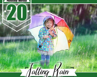 20 falling Rain overlays, rain effects, weather overlays, nature overlay, PS, Photoshop overlay, rain photo, rain showers PNG files