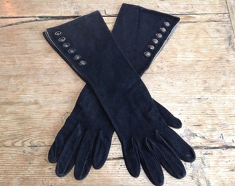 Vintage Suede/Leather Black Gloves with Buttons