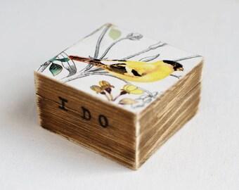 Wedding ring box, Ring Box, Ring bearer box, Rustic ring box, I Do, Rustic wedding ring box, Boho ring box, Ring holder, Ring Pillow, Bird