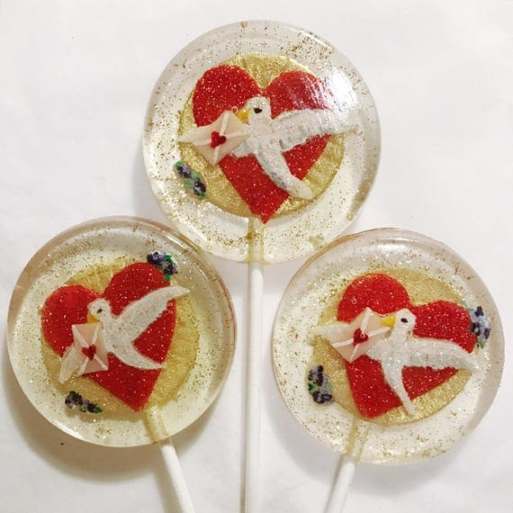 3 Victorian Love Bird Valentines Wedding Favors Lollipops