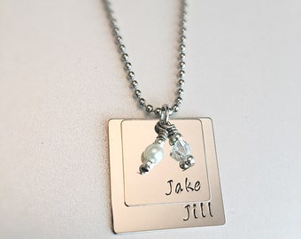 Stacked Square Personalized Name Necklace Pearl Crystal