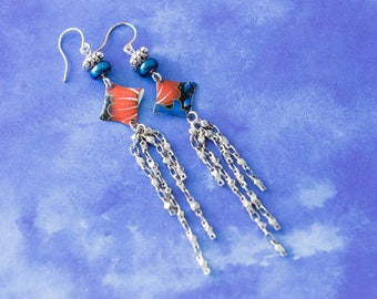 Blue and Red Orange Vintage Tin Chain Earrings, Chain Tassel Earrings, Dangle Earrings, Diamond Shaped Earrings, Light Earrings